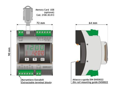 <p>Dimensione e installazione termoregolatore DRR227</p>