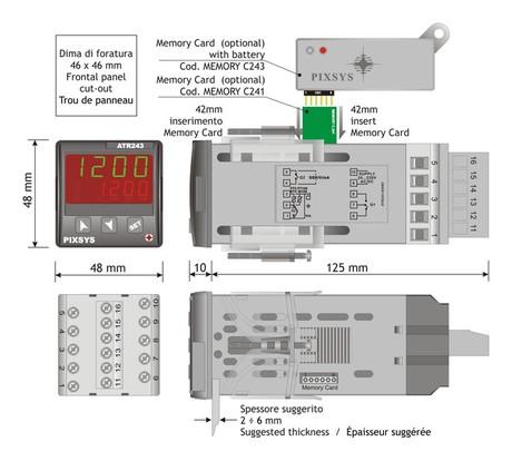 <p>Dimensioni e installazione del regolatore industriale ATR 243</p>
