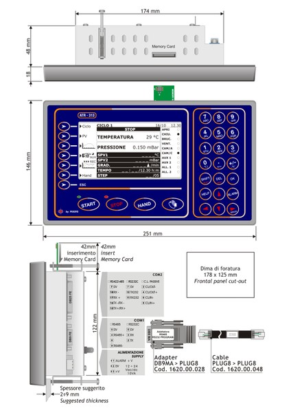 <p>Dimensione installazione panel pc forni ATR313 Pixsys srl&nbsp;</p>