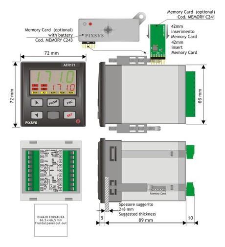 <p>Rappresentazione regolatore pid configurbaile 72x72 mm dimensioni &nbsp;e installazione</p>