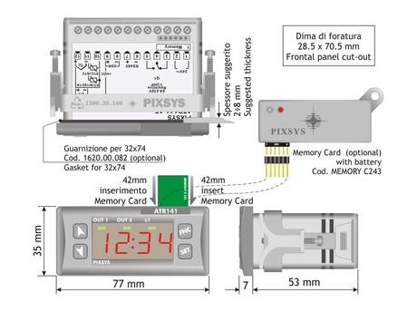 <p>Schema di dimensioni ed installazione per termoregolatore PID configurabile 32X74 mm ATR 141 PIXSYS SRL</p>