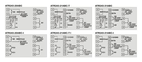 <p>Schema di collegamento del del regolatore industriale ATR 243</p>